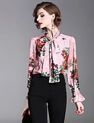 baratos -Mulheres Camisa Social - Trabalho Para Noite Moda de Rua Laço Estampado, Floral Colarinho Chinês