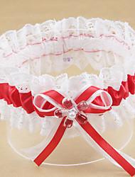 baratos -Poliéster Moderna / Casamento Wedding Garter  -  Acrilíco / Laço / Perola Imitação Ligas Casamento / Festa