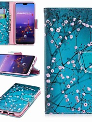 baratos -Capinha Para Huawei P20 lite P20 Pro Porta-Cartão Carteira Com Suporte Flip Estampada Capa Proteção Completa Flor Rígida PU Leather para