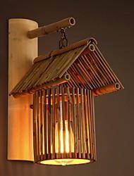 baratos -Novo Design Retro / Vintage Luminárias de parede Ao ar Livre Madeira / Bambu Luz de parede 220-240V 40 W / E27