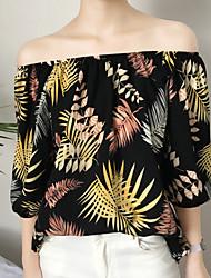 baratos -Mulheres Blusa Básico Estampado, Floral Folha tropical