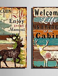cheap -Print Stretched Canvas Prints - Animals Vintage Theme Modern