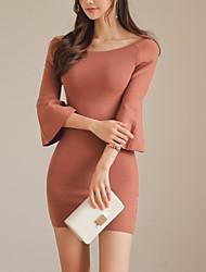 baratos -Mulheres Moda de Rua Skinny Tubinho Vestido Sólido Cintura Alta Mini / Primavera