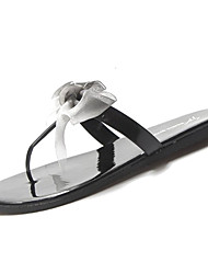 cheap -Women's Shoes PU Summer Comfort Slippers & Flip-Flops Flat Heel Bowknot for Casual Black / Silver