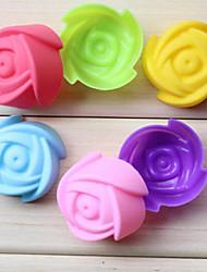 Недорогие -7см роза цветок силиконовый торт формы шоколад пудинг кекс печенье