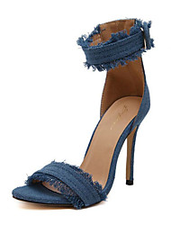 baratos -Mulheres Sapatos Jeans Primavera Verão Plataforma Básica / D'Orsay Sandálias Salto Agulha Dedo Aberto Presilha para Escritório e Carreira