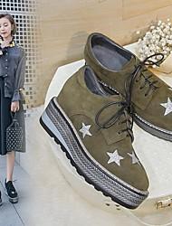 povoljno -Žene Cipele Koža Proljeće Udobne cipele Oksfordice Wedge Heel za Vanjski Crn / Vojska Green