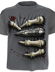 cheap -Men's Exaggerated Street chic T-shirt - Color Block Skull Print