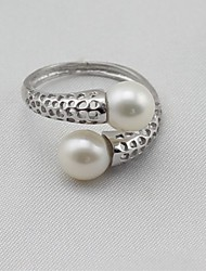 cheap -Women's Band Ring / Knuckle Ring - Pearl, S925 Sterling Silver Classic, Fashion, Elegant 8 Silver For Gift / Daily