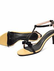 preiswerte -Damen Schuhe Leder Sommer Pumps / Komfort Sandalen Stöckelabsatz für Weiß / Gelb