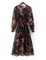 cheap -Women's Daily / Holiday Basic Chiffon Dress - Floral Print