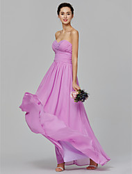 cheap -A-Line Sweetheart Neckline Floor Length Chiffon Bridesmaid Dress with Beading / Side Draping by LAN TING BRIDE®