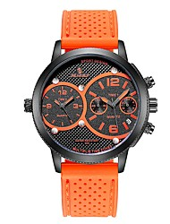 cheap -Men's Sport Watch Chinese Dual Time Zones / Noctilucent Rubber Band Casual / Fashion Black / Orange / Yellow