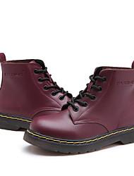Недорогие -Жен. Обувь Кожа Наступила зима Удобная обувь / Ботильоны Ботинки На низком каблуке Ботинки Черный / Винный