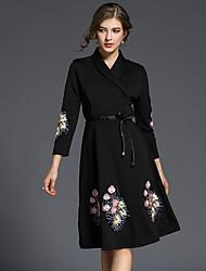 baratos -Mulheres Sofisticado Algodão Delgado Evasê Vestido - Peplum / Estampado / Bordado, Sólido / Floral / Geométrica Decote em V Profundo