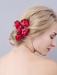cheap -Fabrics Hair Pin with Flower 6pcs Wedding / Party / Evening Headpiece