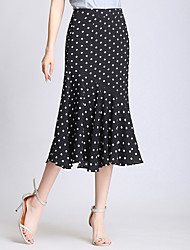 cheap -Women's Active Swing Skirts - Solid Colored / Polka Dot Black & White