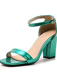 Недорогие -Жен. Обувь Лакированная кожа Лето С ремешком на лодыжке Сандалии На толстом каблуке Открытый мыс Пряжки Зеленый / Синий / Розовый