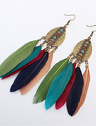 cheap -Synthetic Tanzanite Drop Earrings - Feather Vintage, Fashion, Oversized Green / Wine / Light Pink For Street Birthday