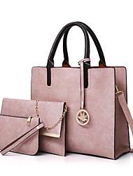 baratos -Mulheres Bolsas PU Leather Conjuntos de saco 3 Pcs Purse Set Botões Rosa / Cinzento / Marron