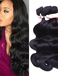 billige -Brasiliansk hår Bølget Menneskehår Vævninger 3stk Blød / Silkeagtig / Med bløde knuder Hårforlængelse af menneskehår / Én Pack Solution