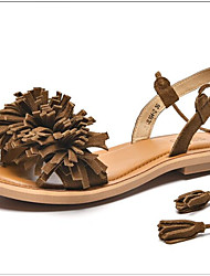 cheap -Women's Shoes Leather Summer Comfort Sandals Flat Heel Brown / Blue / Nude / Lace up