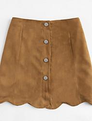 baratos -Mulheres Moda de Rua Evasê Saias - Sólido