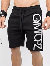 baratos -Homens Com Cordão Shorts de Corrida - Preto Esportes Letra Shorts largos Fitness, Ginásio, Exercite-se Roupas Esportivas Secagem Rápida, Respirável, Redutor de Suor Com Stretch
