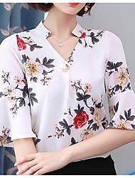 abordables -Mujer Blusa, Escote en Pico Un Color / Floral