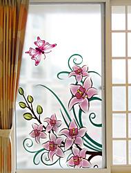 Недорогие -Оконная пленка и наклейки Украшение С цветами Цветочный принт ПВХ Стикер на окна Матовая Водоотталкивающие