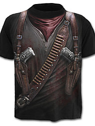 cheap -Men's Street chic / Military / Exaggerated Plus Size Cotton T-shirt - 3D Print / Short Sleeve