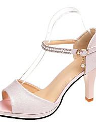 preiswerte -Damen Schuhe PU Sommer D'Orsay und Zweiteiler / Pumps Sandalen Stöckelabsatz Weiß / Rosa / Hochzeit / Party & Festivität