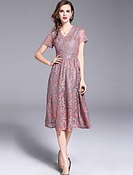 baratos -Mulheres Tamanhos Grandes Delgado Rodado Vestido Floral Decote V Médio