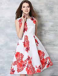 baratos -Mulheres Vintage / Boho Evasê Vestido - Franzido / Franjas / Bordado, Floral / Geométrica Altura dos Joelhos Folha tropical