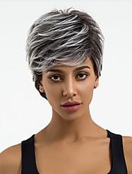 Недорогие -Парики из искусственных волос Волнистый Стрижка под мальчика Природные волосы / Волосы с окрашиванием омбре Темно-серый Жен. Без