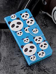 baratos -Capinha Para Huawei P20 / P20 lite Carteira / Porta-Cartão / Com Suporte Capa Proteção Completa Panda Rígida PU Leather para Huawei P20 /