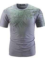 baratos -Homens Camiseta Básico Estampado, Floral Folha tropical
