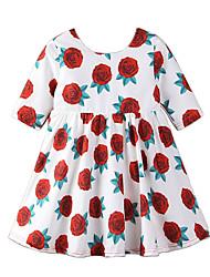 cheap -Kids Girls' Floral Print Half Sleeve Dress