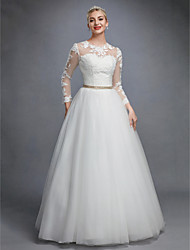 cheap -Ball Gown Jewel Neck Floor Length Tulle / Corded Lace / Lace Over Tulle Made-To-Measure Wedding Dresses with Lace / Pearls / Sashes / Ribbons by LAN TING BRIDE® / Illusion Sleeve / Beautiful Back
