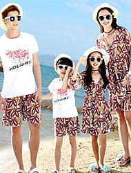 baratos -Adulto Olhar de família Geométrica Manga Curta Camiseta