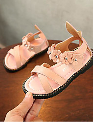 baratos -Para Meninas Sapatos Couro Ecológico Verão Conforto Sandálias Flor para Branco / Vermelho / Rosa claro