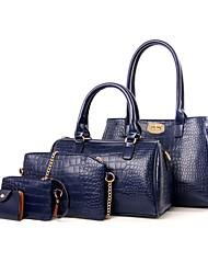 economico -Per donna Sacchetti PU sacchetto regola Set di borse da 5 pezzi Cerniera Nero / Rosso / Fucsia