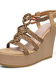 Choix De Sortie 2018 Nouvelle Mujer Zapatos PU microfibra sintético Primavera / Verano Confort / Innovador Sandalias Tacón Cuña Puntera abierta Blanco / Caqui 2018 Unisexe 6NuuS