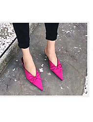 baratos -Mulheres Sapatos Couro Ecológico / TPU Verão MaryJane Tamancos e Mules Salto Cone Dedo Apontado Laço para Casual / Ao ar livre Preto /