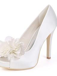 cheap -Women's Shoes Satin Spring Basic Pump Wedding Shoes Stiletto Heel Peep Toe White / Ivory