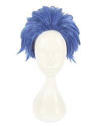 abordables -Pelucas sintéticas Recto Corte a capas Pelo sintético Cosplay Azul Peluca Mujer Corta Sin Tapa