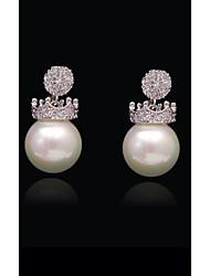abordables -Femme Cristal Perle S925 argent sterling Balle Couronne Européen Mode Bijoux Blanc et argent Heart pour Plein Air Vacances 1pc