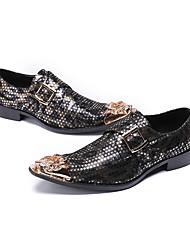 abordables -Homme Chaussures de nouveauté Cuir Nappa Printemps & Automne Oxfords Noir et Or / Mariage / Soirée & Evénement