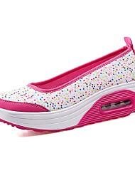 baratos -Mulheres Sapatos Tecido Verão Calçado vulcanizado Tênis Salto Plataforma Peep Toe Cinzento Claro / Branco / Preto / Branco e roxo