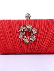 baratos -Mulheres Bolsas Seda Bolsa de Mão Detalhes em Cristal para Festa / Eventos Vermelho / Roxo / Prateado